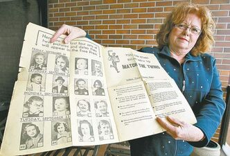 Twin Patty Faulkner holds a Free Press page featuring the popular Match the Twins contest.