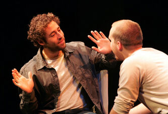 Michael Rubenfeld (left) and Matthew TenBruggencate in Michael Nathanson's play Talk at the Berney Theatre.