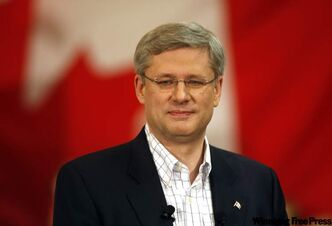 Conservative leader Stephen Harper's addressing an assembled crowd of faithful in Winnipeg Tuesday.