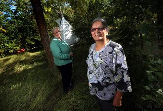 Norah McMurtry (left) and Rev. Bernice Saulteaux at the Dr. Jessie Saulteaux Resource Centre near Beausejour.