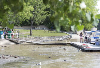 August begins and the walkway trails at the Forks remain underwater due to the high rivers. Sarah Taylor / Winnipeg Free Press August 5, 2014