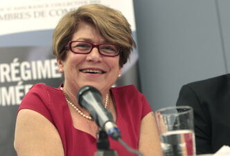 Judy Wasylycia-Leis at the Chambre de commerce francophone de Saint-Boniface hosted mayoral debate Wednesday.