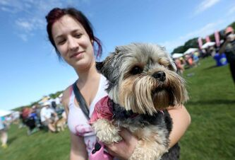 Amber Sobering, 23, with Pixie, a Yorkie-Shih tzu cross at the Paws in Motion event in Assiniboine Park Sunday.