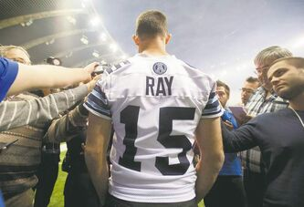Toronto quarterback Ricky Ray deals with reporters at Olympic Stadium in Montreal on Saturday.