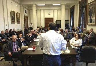 William Pfeiffer expresses his views to MLAs during a standing committee hearing at the legislative building Thursday.