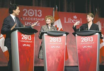 From left: Justin Trudeau, Karen McCrimmon and Martha Hall Findlay take part in the Liberal party leadership debate in Montreal on Saturday.