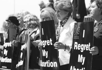 Women protest abortion in Ottawa in 2010.