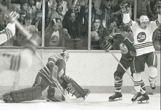 Kim Clackson celebrates a goal in the Jets' final WHA game, a contest vs. Edmonton.