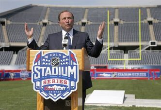 NHL Commissioner Gary Bettman talks about the Stadium Series hockey game between the Chicago Blackhawks and Pittsburgh Penguins to be held in March, during a news conference Thursday, Sept. 19, 2013, at Soldier Field in Chicago. (AP Photo/Charles Rex Arbogast)