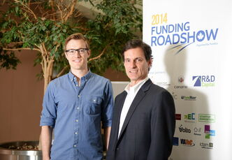 Fundica president Mike Lee (right) and Skip the Dishes president Joshua Simair at the Funding Roadshow on Thursday.