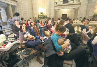 This year's breastfeeding challenge drew 54 mothers to the legislature's rotunda Saturday morning to give their little ones breakfast the natural way.