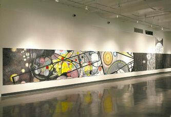 Smith creates massive drawings, often up to five metres long.