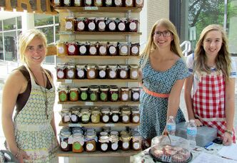 From left to right, entrepreneurs Kylie Wasiuta, 23, and Sara Porter, 25, with helpmate Destiny Jowett, 15. One of the top food trends in the past couple of years is the resurgence of home canning. Wasiuta and Porter's handcrafted preserves are made from homegrown organic produce and sold at local farmers markets.