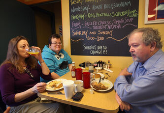 Marilyn McGregor and husband Kenton chat about Tuesday's U.S. presidential election at Darcy's Café in north Grand Forks Wednesday.