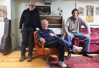 Gordon Pinsent (centre) poses with Blue Rodeo's Greg Keelor (left) and Travis Good of the Sadies in Toronto on Tuesday April 10, 2012. The three collaborated on an album based on poems written by Pinsent. THE CANADIAN PRESS/Chris Young