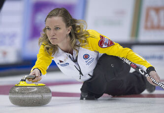 Team Manitoba skip Chelsea Carey delivers her rock against Quebec at the Scotties Tournament of Hearts in Montreal this afternoon.