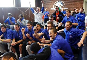 The Boise State team reacts after learning their NCAA college basketball tournament assignment during a Selection Sunday viewing party, Sunday, March 17, 2013, in Boise, Idaho. Boise State is scheduled to face La Salle in a play-in on Tuesday in Kansas City, Mo. (AP Photo/The Idaho Statesman, Joe Jaszewski) LOCAL TV OUT (KTVB 7)