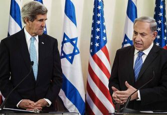 John Kerry, left, listens as Israeli Prime Minister Benjamin Netanyahu makes a statement during a press conference in this Jannuary.