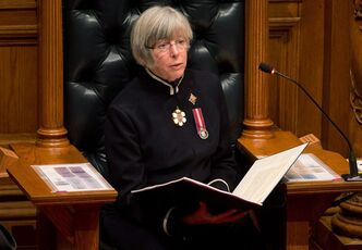 British Columbia Lt-Gov. Judith Guichon delivers the Throne Speech at the B.C. Legislature in Victoria, B.C., on Tuesday February 12, 2013. The Liberal government will table a budget on Feb. 19 and a provincial election will be held May 14. THE CANADIAN PRESS/Darryl Dyck