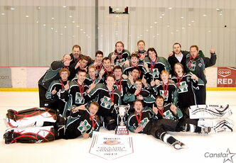 The Murdoch MacKay Clansmen celebrate their division championship after a shootout win over the Linden Christian Wings.