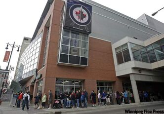 The line-ups continued Saturday morning at Jets Gear, the official merchandiser for the Winnipeg Jets, with roughly 100 fans lined up  outside the MTS Centre store shortly before 10 a.m.. The store opened Friday at 4 p.m. after the team revealed their much-anticipated new logo. Fans were turned away last night, and were back in line a couple hours before the store opened Saturday. The store will be open until 6 p.m.