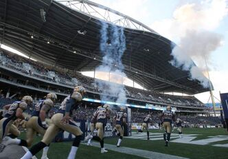 The revved-up Winnipeg Blue Bombers sprint onto the field for their first taste of real action at Investors Group Field on Wednesday night.