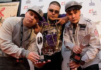 Winnipeg's Most pose with their two awards at the Aboriginal People's Choice Music Awards last November.