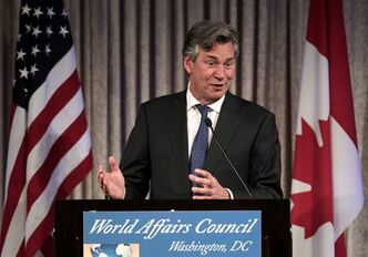 Gary Doer Canadian Ambassador to the U.S., speaks at the World Affairs Council 2011 Global Education Gala, Wednesday, March 9, 2011, in Washington. Since 9-11, Doer says, the relationship between Canada and the U.S. has in fact strengthened in many ways. THE CANADIAN PRESS/ AP - Luis M. Alvarez