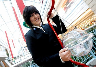 Salvation Army kettle co-ordinator Courtney Marshall at Portage Place. She says eye contact is key to the job.
