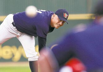 Goldeyes Ace Walker throws against the Wichita Wingnuts in game one of the championship Monday.