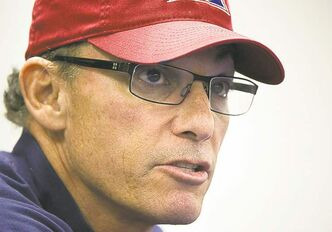Montreal Alouettes' head coach Marc Trestman speaks to reporters at the Olympic Stadium in Montreal Saturday ahead of their CFL eastern final against the Toronto Argonauts which will take place in Montreal on Sunday.