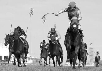 Jockey Eurico Da Silva guides Up With the Birds (right) to victory in the $500,000 Breeder's Stakes at Woodbine Race Track in Toronto.