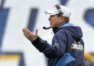 San Diego Chargers head coach Norv Turner gestures on the sidelines as his team plays the Green Bay Packers in the first half of an NFL football game, Sunday, Nov. 6, 2011, in San Diego. (AP Photo/Denis Poroy)