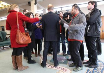 Mayor Sam Katz puts his spin on the legal ruling during a media scrum Friday.