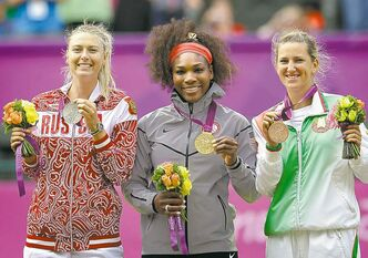 From left, silver medalist Maria Sharapova of Russia, gold medalist Serena Williams of the United States and bronze medalist Victoria Azarenka of Belarus stand on the podium during the medal ceremony of the women's singles final match at the All England Lawn Tennis Club at Wimbledon, in London, at the 2012 Summer Olympics, Saturday, Aug. 4, 2012. (AP Photo/Elise Amendola)