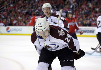 Avalanche centre Nathan MacKinnon, the No. 1 pick the 2013 entry draft, celebrates his goal against the Washington Capitals earlier this season.