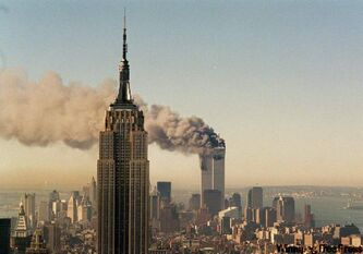 Smoke billows from one of the World Trade Center towers after a jet airliner crashed into the building on Sept. 11, 2001.