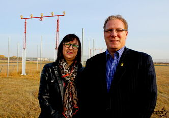St. James Coun. Scott Fielding and Winnipeg Arts Council public arts manager Tricia Wasney say a planned flight viewing plaza along the Yellow Ribbon Greenway will be a boon for aviation buffs who already use the trail to watch airplanes.
