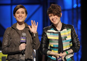 Sara Quin, left, and Tegan Quin say their break into the mainstream wasn't an accident. The pair is nominated for four Juno awards this year.