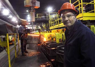 Rob McBain, president and CEO of Ancast Industries Ltd., in the iron foundry. Work-sharing is no longer required at the plant.