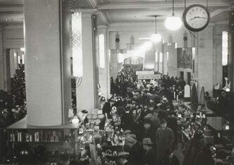 The Bay's main floor is elbow to elbow with Christmas shoppers in this 1940s photo.