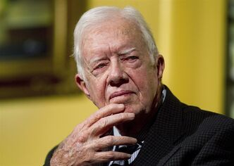 Former U.S. President Jimmy Carter speaks to a group of Duke University alumni at the Carter Center in Atlanta in this Feb. 15, 2012 file photo. THE CANADIAN PRESS/AP/John Bazemore