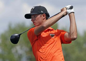 Manitoba's Charlie Boyechko tees off during Thursday's action at Southwood. Boyechko shot a 72.