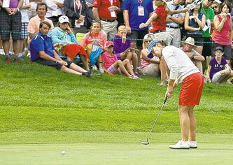 Karine Icher of France makes a putt on the sixth green during the final round Sunday. She finished in second place.