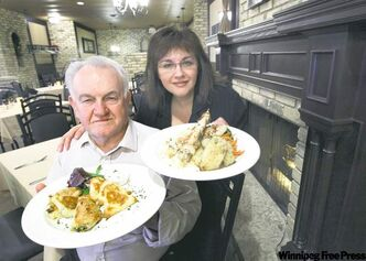 Cosmos founder Tom Asimakopoulos with daughter Roula Alevizos at their favourite table with chicken souvlaki, spanakopita and tiropita mezze.