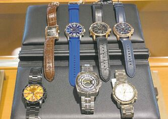Appelt's watches. Top row, from left: Brown Leather Dress Caravelle New York, $75; Cobalt Blue Rubber Band Caravelle New York, $110; Black and Rose Bulova Precisionist, $695; Navy Leather and Rose Fossil, $155;  Bottom row, from left: Black and Orange Caravelle New York $150, Silver and Carbon Fiber Bulova Precisionist, $650;  Silver and Gold Classic Fossil Watch, $165.