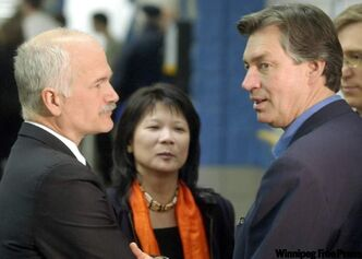Former Manitoba premier Gary Doer (right) will be among the honorary pallbearers for the late federal NDP leader Jack Layton (left).