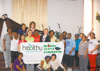 Some of the women who participate in the HTN physical activity exercises and wellness program facilitated by FGCN.