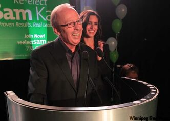 They like me. They really do like me. Sam Katz savours election-night victory.