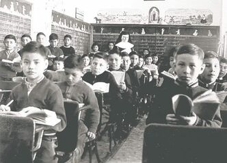 St. Joseph's Residential School in Cross Lake, Man., is seen in this 1951 photo.
